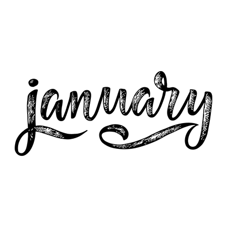 Handwritten name of month. Calligraphy word for calendars and organizers. Vector