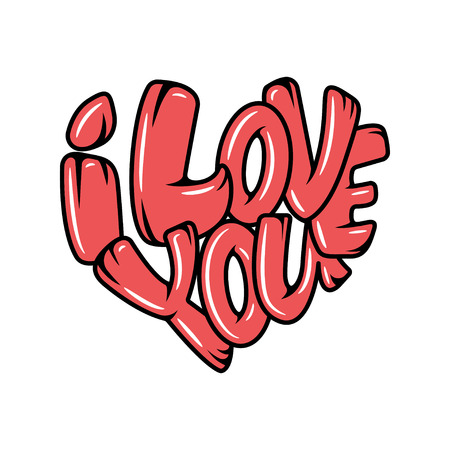 Big heart with lettering - I love you, in all languages of the world. Vector illustration