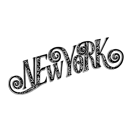 Hand drawn typography lettering phrase New York. Modern motivational calligraphy for typography poster and postcard or t shirt print. Vector illustration Vettoriali