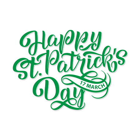 Vector illustration of Happy Saint Patrick s Day logotype. Hand sketched Irish celebration design. Beer festival lettering typography icon. Hand drawn typography badge with hat