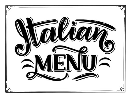 Italian food menu - names of dishes. Lettering phrases for your design, stylized drawing with chalk. Фото со стока - 101658396
