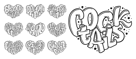 Set of cocktails names, lettering in heart - Gin Fizz, Cosmopolitan, Pina Colada, Old Fashioned, Mojito, Manhattan, Margarita, Daiquiri, Bloody Mary. Hand drawn illustration in bubble style. Illustration