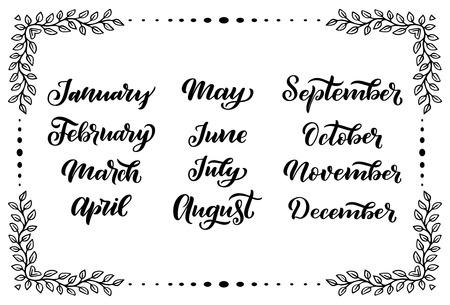 Handgeschriebene Monatsnamen: Dezember, Januar, Februar, März, April, Mai, Juni, Juli, August September Oktober November Kalligrafische Wörter für Kalender und Organisatoren