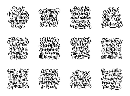 Set of compositions for every months, calendar template. Hand drawn lettering quotes for calendar design, illustration  イラスト・ベクター素材