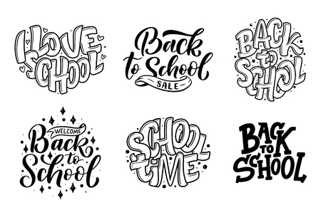Set of Welcome back to school lettering quotes. Back to school sale tag. Vector illustration. Hand drawn lettering badges. Typography emblem set