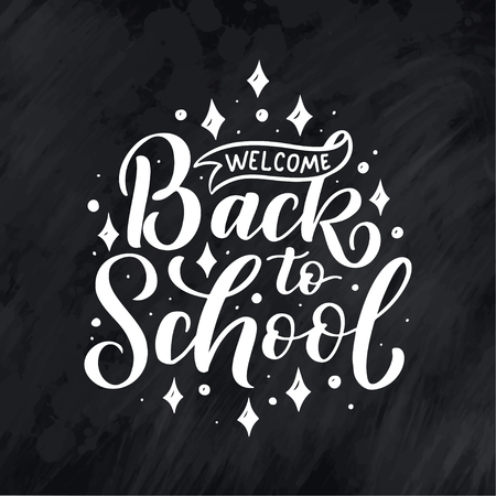 Welcome back to school lettering quote. Back to school sale tag. Vector illustration. Hand drawn lettering badges. Typography emblem set. Chalk background