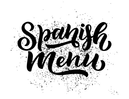 Freehand sketch style drawing of spanish menu, hand written lettering. Food design. Detailed illustration. Vector