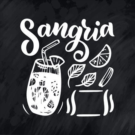 Freehand sketch style drawing of sangria, cocktail glass, various fruits and hand written lettering. Spanish Cocktail recipe. Vector illustration isolated on background