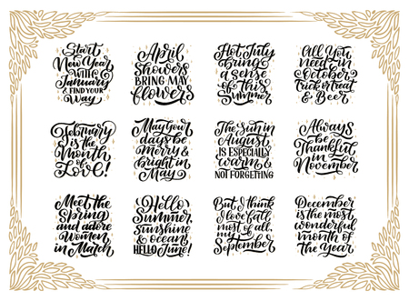 Set of vector compositions for every months, calendar, planner template. Hand drawn lettering quotes for calendar design, illustration
