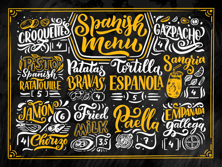 Freehand sketch style drawing of spanish menu with different food names, various elements and hand written lettering. Chalkboard design. Detailed illustration isolated on black background. Vector Vector Illustration