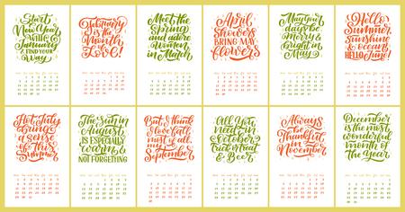 Vector calendar for months 2 0 1 9. Hand drawn lettering quotes for calendar design, Hand drawn style, vector illustration