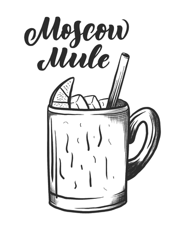 Nom de lettrage de cocktail avec verre. Modèle de bannière de carte et affiche pour menu de bar et restaurant. Illustration vectorielle