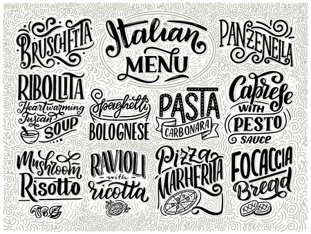 Italian food menu - names of dishes. Lettering , stylized drawing. Vector vintage illustration. Background for restaurant, cafe, showcase, storefront design Illustration