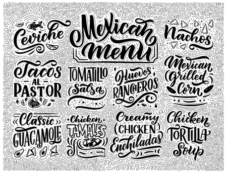 Mexican Menu lettering with traditional food names Guacamole, Enchilada, Tacos, Nachos and more. Vector vintage illustration. Background for restaurant, cafe, showcase, storefront design Vector Illustration