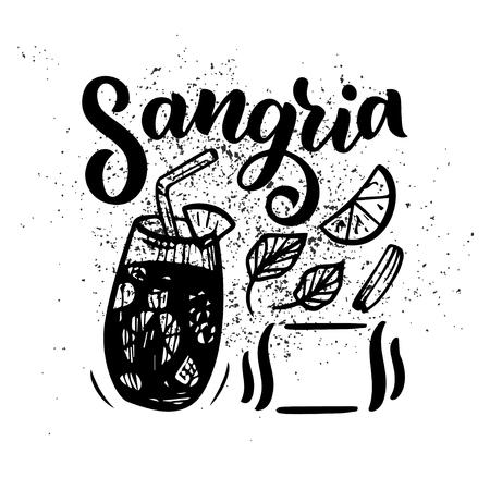 Dibujo estilo boceto a mano alzada de sangría, copa de cóctel, varias frutas y letras escritas a mano. Receta de cóctel español. Ilustración de vector aislado sobre fondo Ilustración de vector