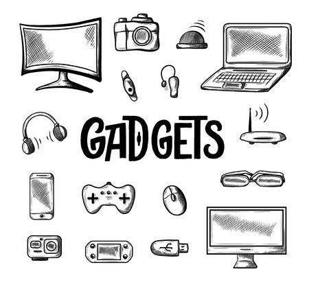 Ikona różnych gadżetów komputerowych. Doodle wektor ilustracja na białym tle. Ręcznie rysowane szkic, elektroniczny laptop, kamera wideo, wi fi, inteligentne zegarki i nie tylko. Wektor Ilustracje wektorowe