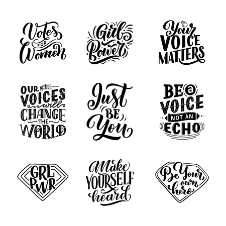 Set of lettering quotes about woman voice and girl power. Calligraphy inspiration graphic design typography element. Hand written postcard. Cute simple vector sign hand drawn style. Textile print. Vector Vectores