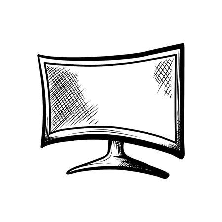 hand drawn isolated plasma and oled tv or television for watching films and playing games with console on transparent background, 4k hd device Illustration