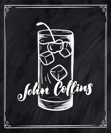 Lettering name of cocktail recipe. Template for card banner and poster for bar menu and restaurant. Vector illustration
