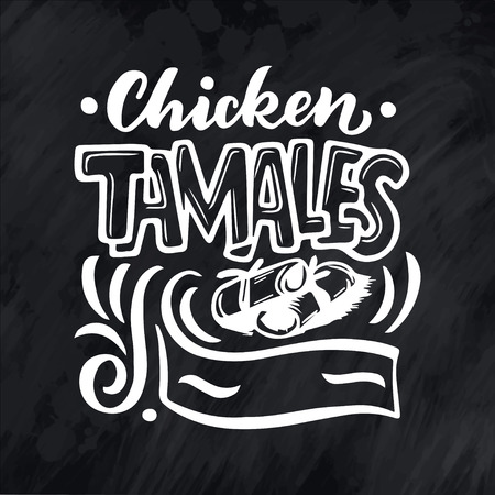 Mexican Menu lettering with traditional food name. Vector vintage illustration on chalk background