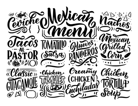 Mexican Menu lettering with traditional food names Guacamole, Enchilada, Tacos, Nachos and more. Vector vintage illustration on background Иллюстрация