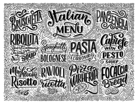 Italian food menu - names of dishes. Lettering , stylized drawing. Vector vintage illustration. Background for restaurant, cafe, showcase, storefront design Иллюстрация