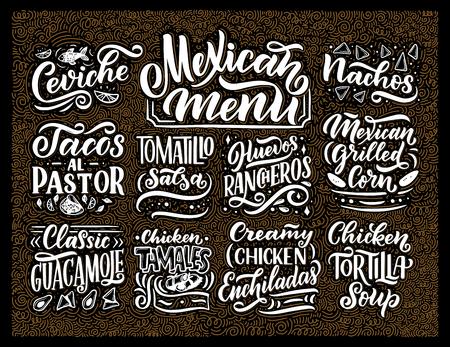 Letras de menú mexicano con nombres de comida tradicional Guacamole, Enchilada, Tacos, Nachos y más. Ilustración de la vendimia del vector. Fondo para restaurante, cafetería, escaparate, diseño de escaparate Ilustración de vector