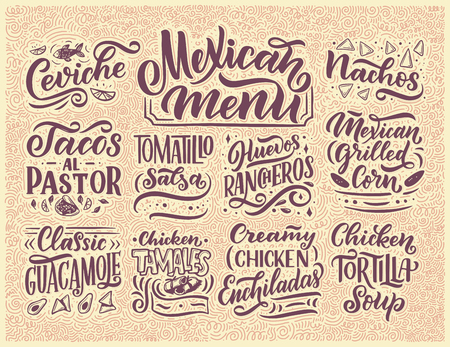 Mexican Menu lettering with traditional food names Guacamole, Enchilada, Tacos, Nachos and more.