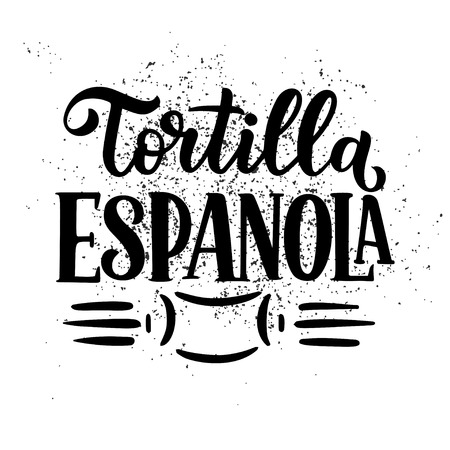 Freehand sketch style drawing of spanish menu with food name, various elements and hand written lettering. Handdrawn design. Detailed illustration. Vector
