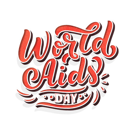 World AIDS Day. The trend calligraphy. Vector illustration on background. 3D Lettering. Concept postcards awareness about AIDS.