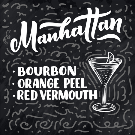 Lettering name of cocktail with glass. Template for card banner and poster for bar menu and restaurant. Vector illustration