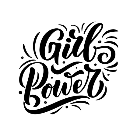 GIRL POWER - quote lettering. Calligraphy inspiration graphic design typography element. Hand written postcard. Cute simple vector sign, hand drawn style. Textile print
