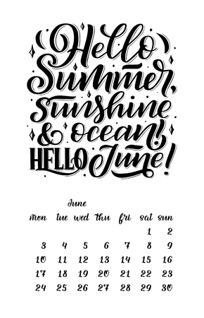 calendar for month 2 0 1 9. Hand drawn lettering quotes for calendar design, Hand drawn style, illustration