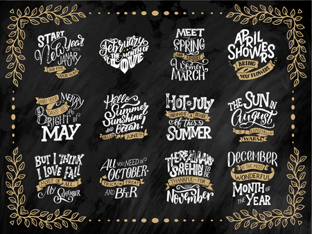 Set of compositions for every months, calendar, planner template. Hand drawn lettering quotes for calendar design, illustration