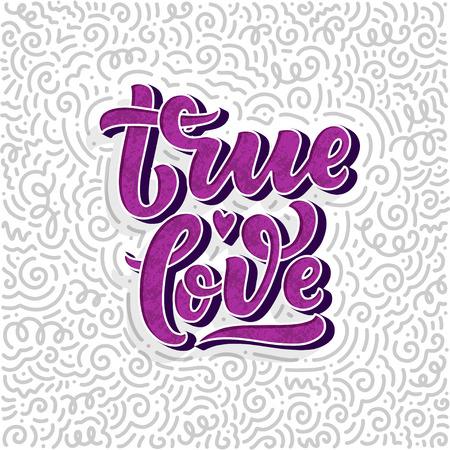 Composizione di lettere disegnate a mano, poster tipografici per San Valentino, cartoline, stampe. Illustrazione vettoriale
