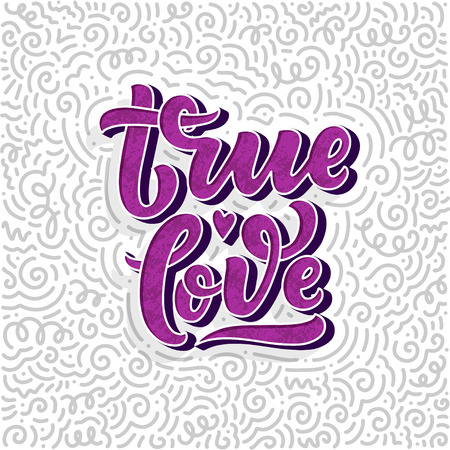 Hand drawn lettering composition, typography poster for Valentines Day, cards, prints. Vector illustration