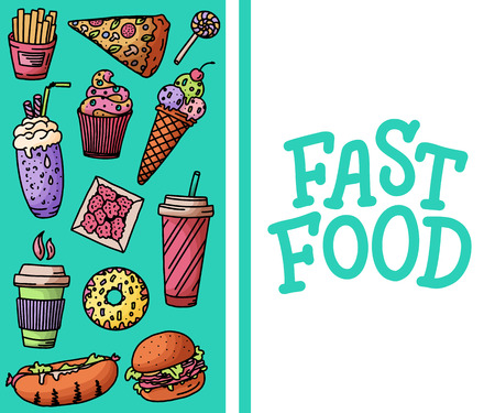 Vintage illustration with fast food doodle elements and lettering on white background for concept design, menu. Vector illustration for any purposes. Illustration