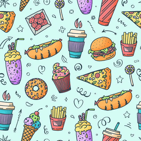 Seamless pattern. Vintage illustration with fast food doodle elements on background for concept design, menu. Vector illustration for any purposes. Illustration