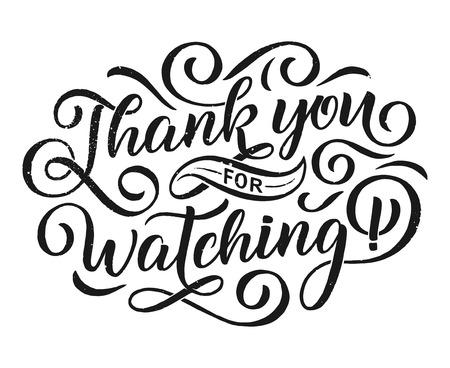 Thank you. Beautiful greeting card calligraphy black text. Hand drawn invitation T-shirt print design. Vector Çizim
