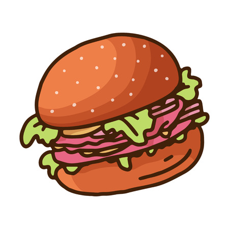 Vintage sketch illustration with doodle burger on white background. Vector drawing. Tasty fast food. Hand drawing. 向量圖像