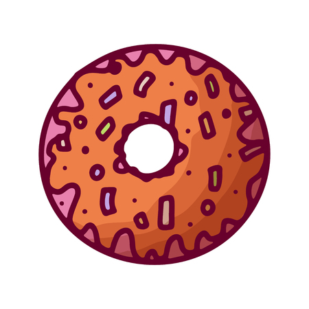 Cartoon donut, great design for any purposes. Vector isolated illustration. Menu template. Doodle style. Birthday party. Reklamní fotografie - 124904677