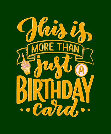 Birthday lettering in retro style. Anniversary invitation card. Vintage invitation template for celebration design. Vector Funny quote Ilustrace