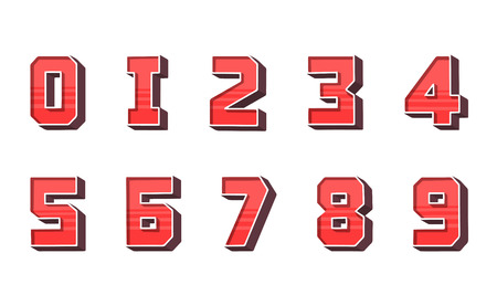 Modern numbers 3d, great design for any purposes. Template for holiday banner. Isolated vector illustration. Retro typeface.