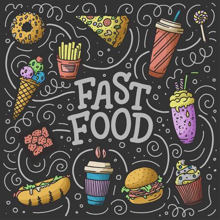 Vintage illustration with fast food doodle elements and lettering on background for concept design, menu. Vector illustration for any purposes. Illustration