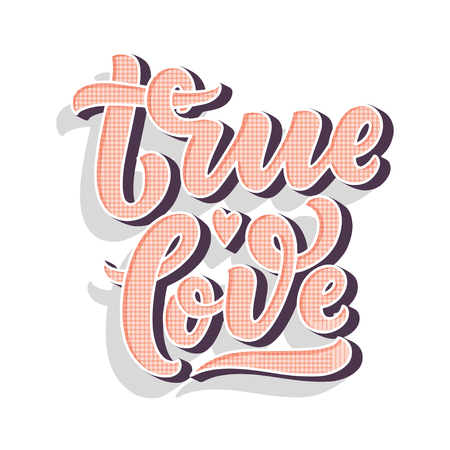 Hand drawn lettering composition, typography poster for Valentines Day, cards, prints. Vector illustration Ilustração