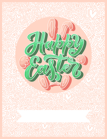 Calligraphy lettering for flyer design - Happy easter. Abstract vector illustration. Template banner, poster, greeting postcard.