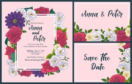 Hochzeit Blumeneinladungskarte, Save the Date Design mit rosa, roten Blumen - Rosen und grünen Blättern Kranz und Rahmen. Botanische elegante dekorative Vektorvorlage