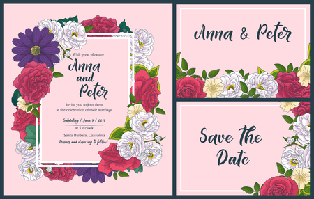 Wedding floral invitation card, save the date design with pink, red flowers - roses and green leaves wreath and frame. Botanical elegant decorative vector template