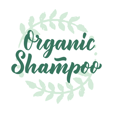 Organic shampoo phrase concept banner. Natural cosmetic slogan for presentation or website. Isolated lettering typography product ide. Vector illustration