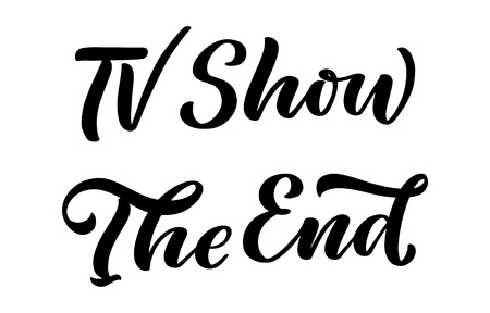 TV Show, The End lettering in calligraphy style on white background. Graphic design illustration. Hand drawing slogan. Template for Online Cinema. Vector Ilustrace